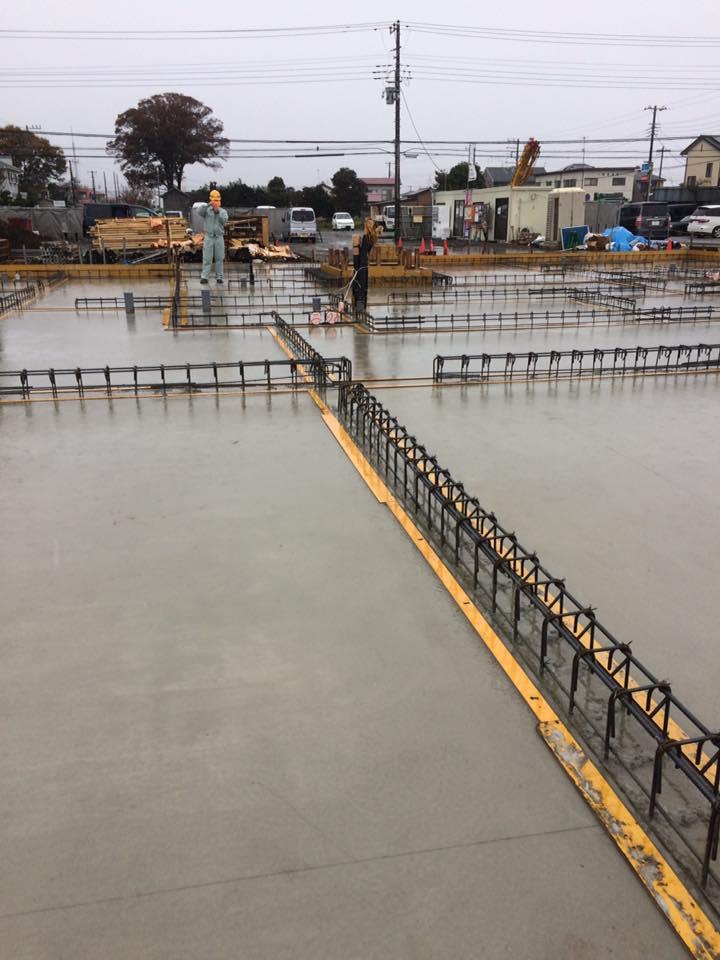 kaz設計現場基礎工事 耐圧盤のコンクリート